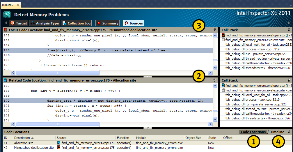Interpret the Result Data Interpret data on the Sources window to determine the cause of the detected memory issue.