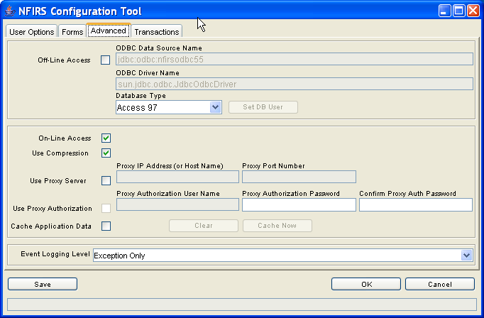 4. The Advanced Tab The third tab on the NFIRS Configuration Tool is the Advanced Tab (diagram 4.0).