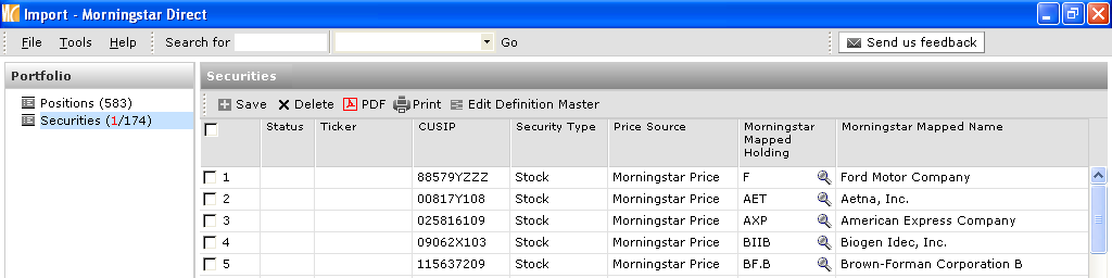 Matching Unidentified Securites 1. Select security type and click on the Morningstar Mapped Holdings icon. 1 2. Locate a comparable security and click OK.
