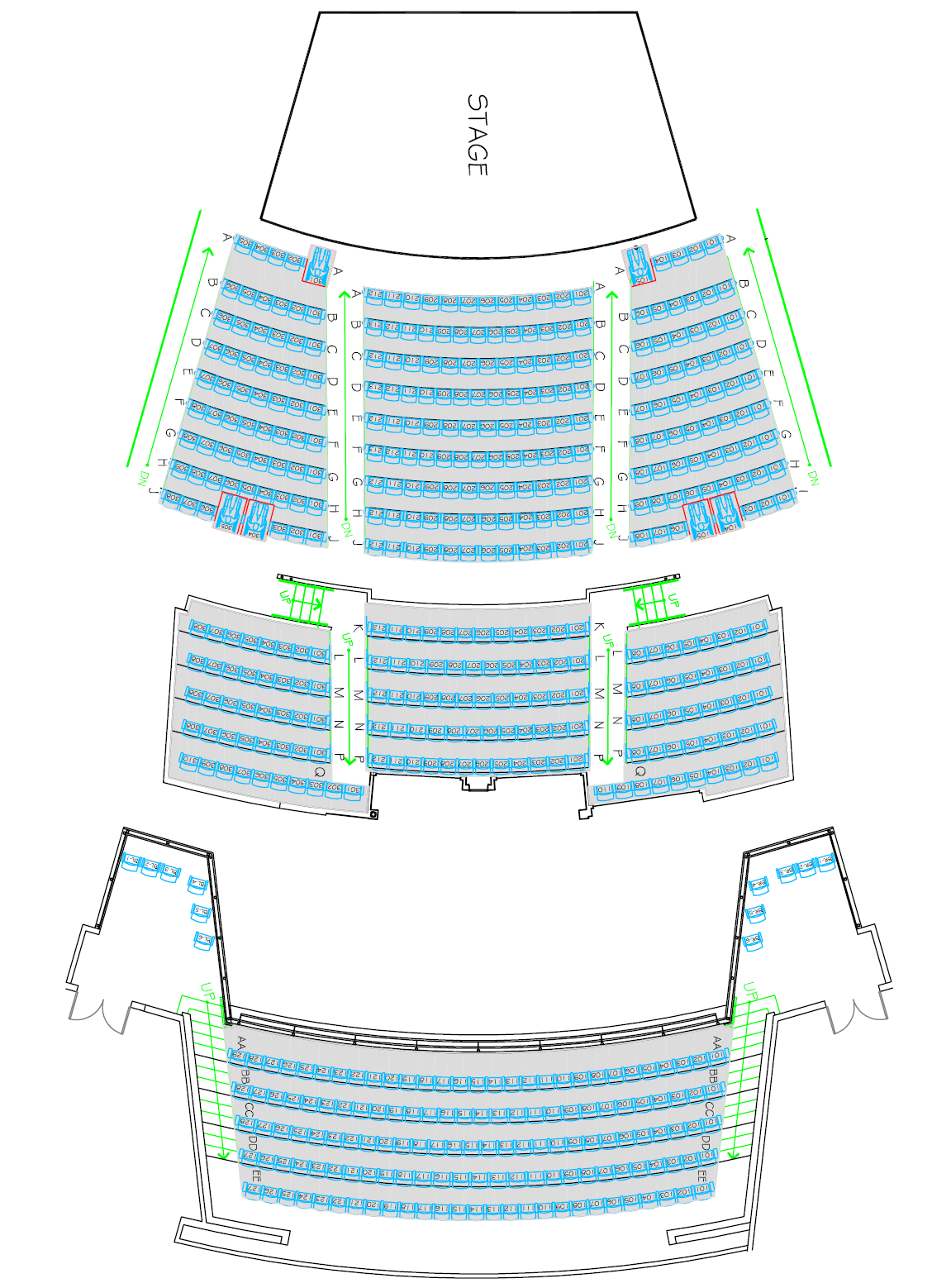 Total Seating Capacity 534 Balcony Level 151 seats w/ no wheelchair locations Parterre Level 144 seats w/ no wheelchair locations Orchestra Level 239 seats w/ 6 wheelchair locations All