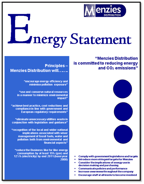 Utilities Development of Energy & Water Policy to encourage Senior Management commitment.