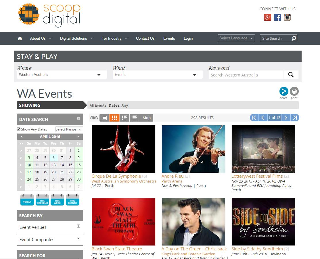 Once you save and publish, you will see your new Guide page appear in your website structure. Here we have added the Events guide to the Scoop Digital site.