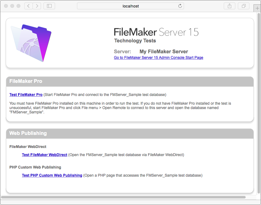 Chapter 4 Testing your deployment Using the FileMaker Server Technology Tests page The easiest way to test your FileMaker Server deployment is to use the FileMaker Server Technology Tests page.
