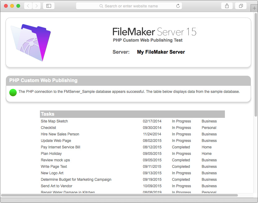 Chapter 4 Testing your deployment 46 The tests on the FileMaker Server Technology Tests page access the sample database (FMServer_Sample.