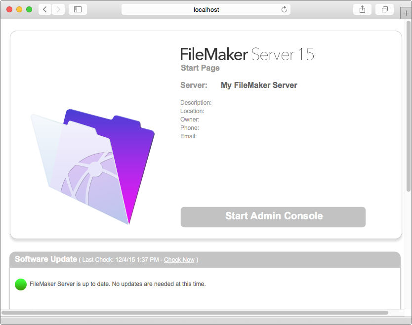 Chapter 5 Administering FileMaker Server 51 FileMaker Server Start Page 3. Click Start Admin Console. 4.