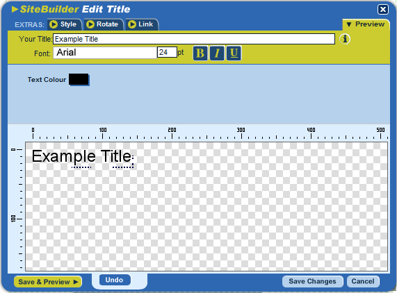 If you want to add a title such as Welcome or About Us to the top of your page you d use our Title Zone function.