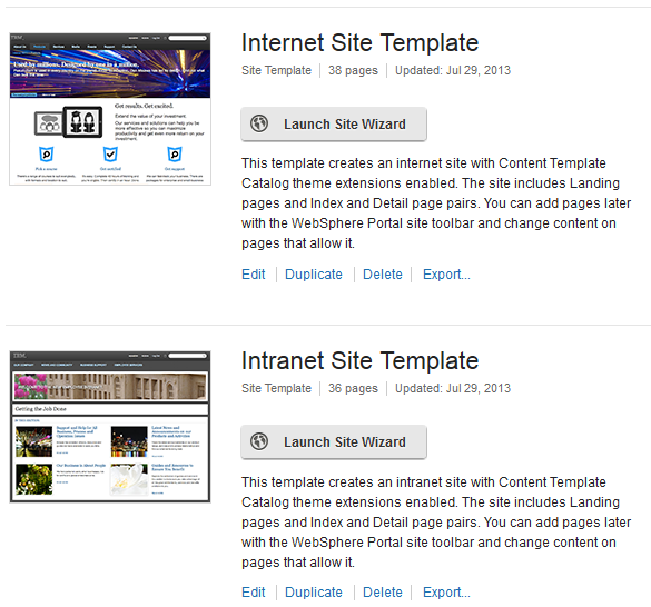 Site Templates Internet and Intranet We use site