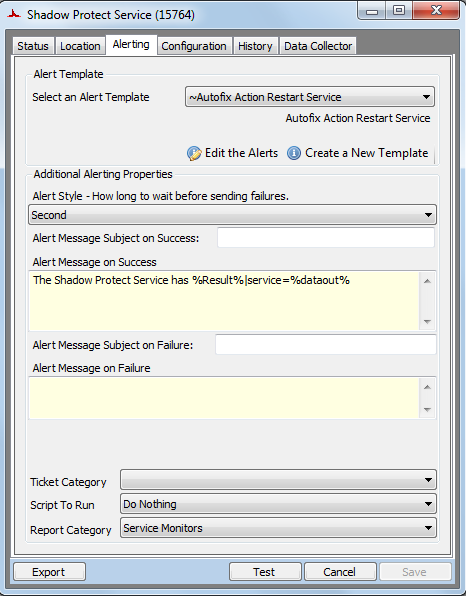Figure 16: Monitor Alerting 1. To change the alert template, select the appropriate template from the Alert Template drop-down.