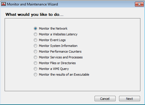 3. Right-click on the computer you want to create the monitor for and select Monitors > Add New Monitor. Figure 2: Monitor Wizard Prompt 4.