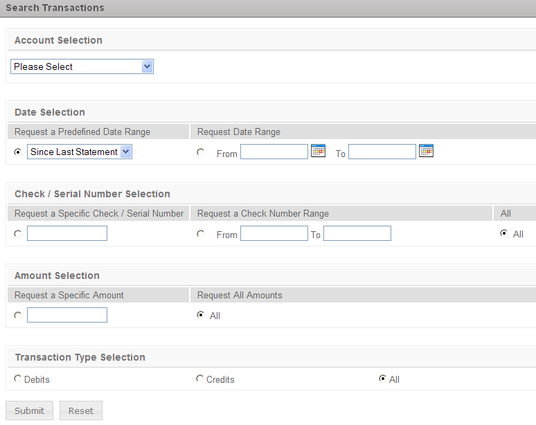 Search Transactions: The Balance Reporting Search Transactions option allows the creation of a search request by account.