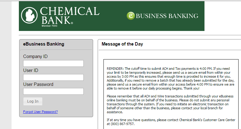 Logging in: Go to www.chemicalbankmi.com. Click on Business at the top of the page and then Login to my account on the left side to go to the business banking login page.