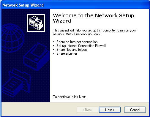 Naming the computer and the workgroup 2 Click on the Network Setup Wizard icon on the Windows XP taskbar.