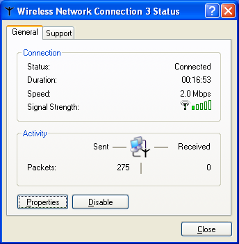 Chapter 9: Troubleshooting 3 Right-click Wireless Network Connection, then click Status. The Wireless Network Connection Status dialog box opens.