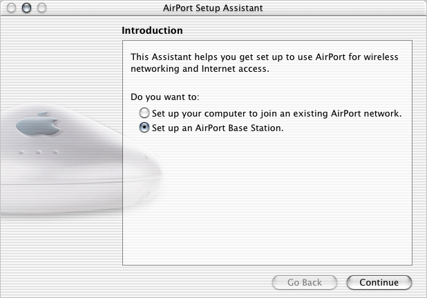 Using the AirPort Setup Assistant To set up and configure your computer or base station to use AirPort for wireless networking and Internet access, use the AirPort Setup Assistant.