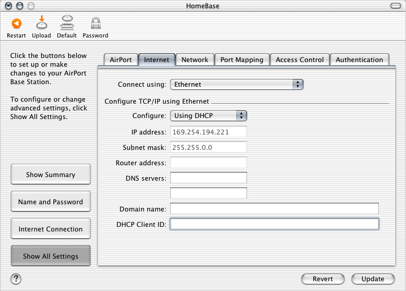 If you configure TCP/IP using DHCP, choose Using DHCP from the Configure pop-up menu.