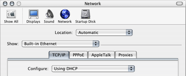 Setting Up Client Computers To configure TCP/IP on client computers: 1 Open System Preferences on the client computer and click Network.