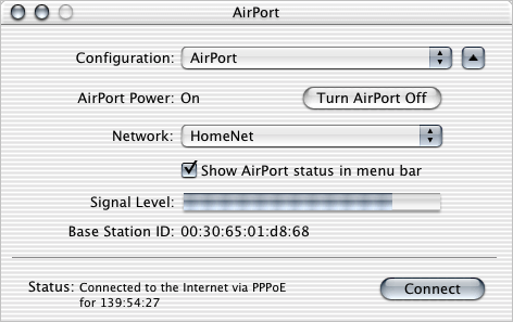 m Open Internet Connect (in the Applications folder on the hard disk) and choose AirPort from the Configuration pop-up menu.