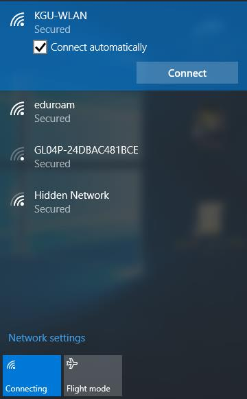 Select KGU-WLAN from the network list and click the Connect button.