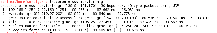Traceroute Host A to www.ics.