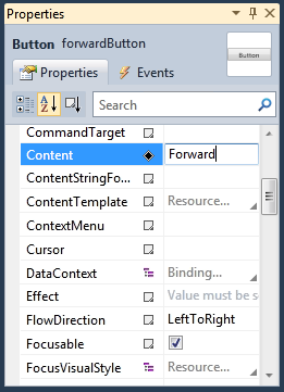 Figure 11 Forward Button Properties 4. Double-click the forwardbutton on the designer surface. Visual Studio will switch to code view and add a click handler for this button. 5.