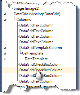 Figure 14 DataGridCheckBoxColumn in Document Outline 3. In the XAML editor, comment out the DataGridCheckBoxColumn and insert the following DataGridTemplateColumn. XAML <!