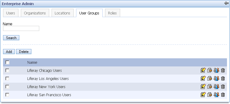User Administration users and to simplify the process of assigning a number of users to a community. Viewing User Groups Click on the User Groups tab in the Enterprise Admin Portlet.