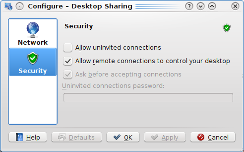 The Announce service on the network checkbox controls whether Desktop Sharing announces invitations over the network using Service Location Protocol.