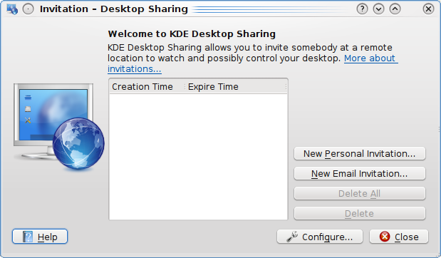 Chapter 3 Using Desktop Sharing It is very easy to use Desktop Sharing - it has a simple interface, as shown in the screenshot below.