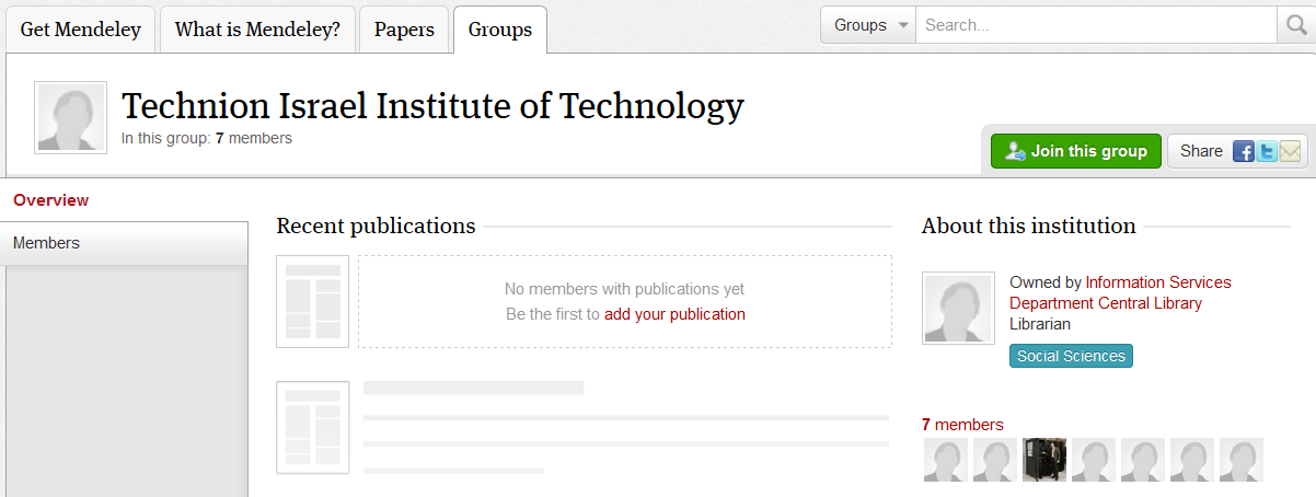 CREATE MENDELEY INSTITUTIONAL ACCOUNT Access to Mendeley Institutional edition (free service to all Technion community) requires* a Technion user account (CAMPUS, STAFF, TX or T2).