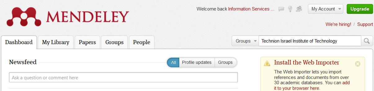 THE INSTITUTIONAL To upgrade existing free Mendeley account, sign in search