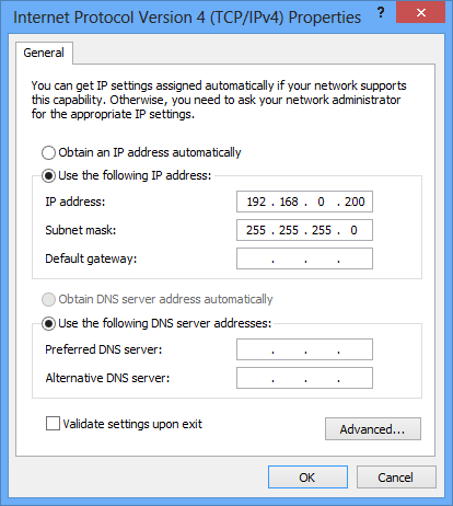 Setting in Windows 8: 1) Open [Control Panel] -> [Network and sharing Center]. 2) Click Ethernet adapter and select Properties.