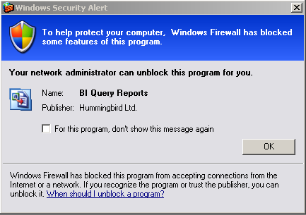This means you are logged on as an Administrator of the machine, and Windows Firewall hasn't been configured to allow BI Query to function properly. Click Unblock.