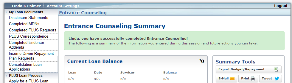 e. Once you have read all sections and have answered Step 5 s 4 required question blocks, you can click Submit Counseling Completion and the Confirmation Page 1.