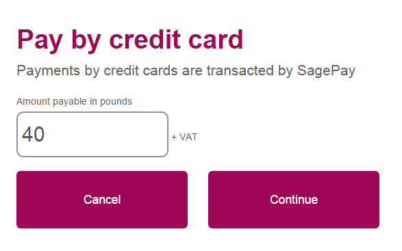 Paying by Credit or Debit Card Once you have clicked Pay by Credit Card, you will be presented with the following screen: All payments made by card within the Appraisal Hub are transacted through