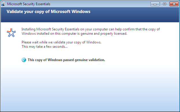The next window you will see is the Microsoft Security Essentials License Agreement.