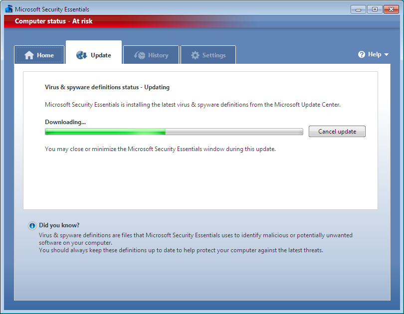 Next, you should see the main page of Microsoft Security Essentials, which is now running on your system.