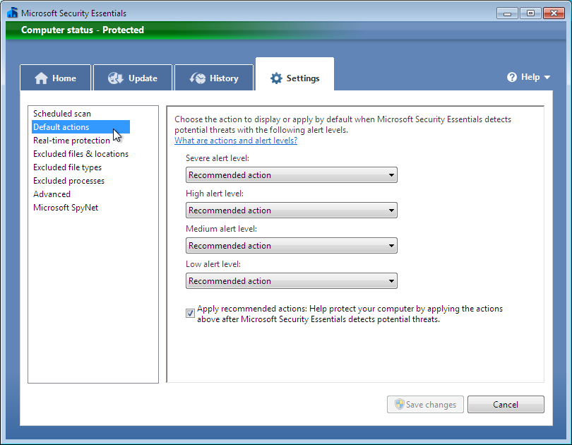 Configuring Microsoft Security Essentials Now that Microsoft Security Essentials is installed and your computer is protected, go into the software s configuration settings to customize Microsoft