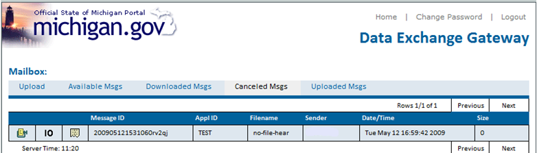 The formats are (from left to right) Zip, Binary, and Text. Downloading from Canceled Msgs.