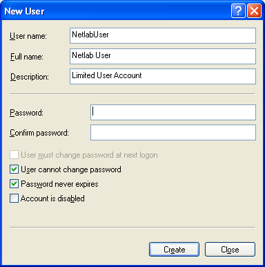 Complete the new user account information insuring to uncheck user must change password at next logon After