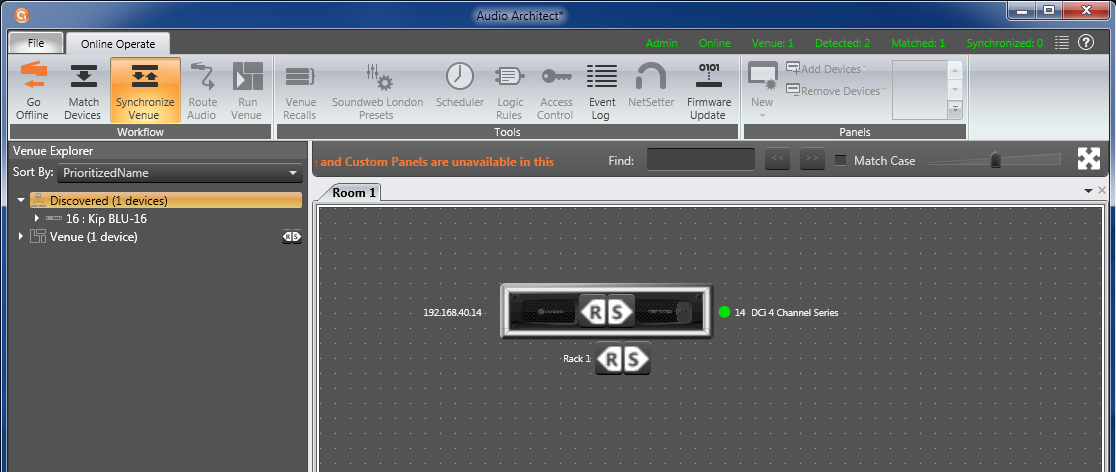 Step 8: Once you click Go Online you will see an on or below your amplifier in the Room 1 Tab. The R stands for Receive which means Audio Architect will Receive a file from the device or amplifier.