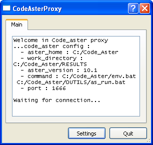 2 Click Settings to open the proxy settings. 3 In the Code_aster home path box, type the path to the Code_Aster installation (for example, C:/Code_Aster).