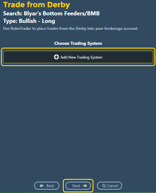 Trading system selection