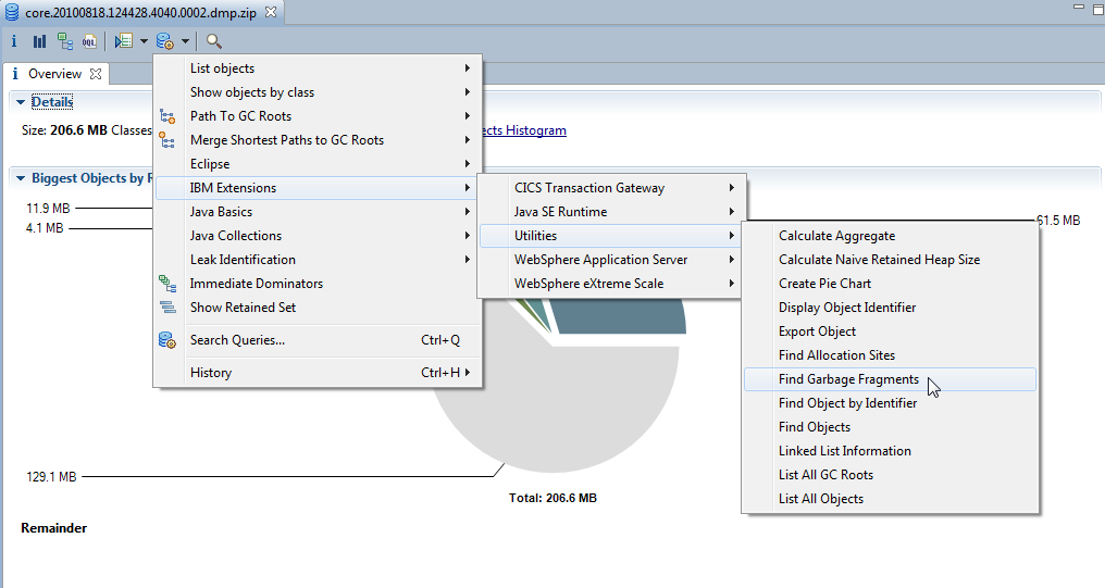 Analyzing your garbage Eclipse Memory Analyzer Tool (MAT) with the IBM Extensions for Memory Analyzer provides