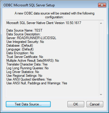 7. You should finally see the Test Data Source screen which should give a Test Successful message upon clicking on the large button if the SQL database is visible to the network and the Login is