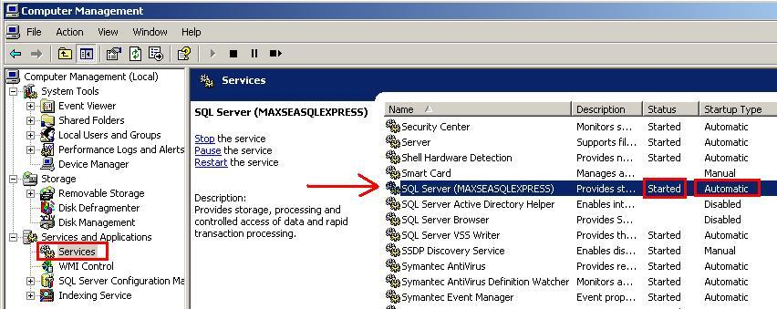 Expand Service and Applications ; and then, Services. Scroll the window until the line appears containing the name SQL Server (MAXSEASQLEXPRESS).
