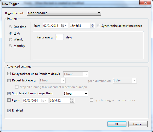 On the Triggers tab select the New option to open the runtime scheduler. By default the first option will always be On a Schedule, but make sure this is displayed anyway.