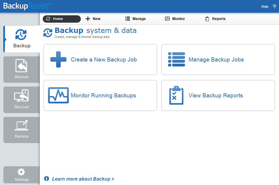 1. Introduction The Backup tab provides access to a set of powerful backup tools, which are used to protect both data and applications, including Exchange, SQL, SharePoint, Active Directory and