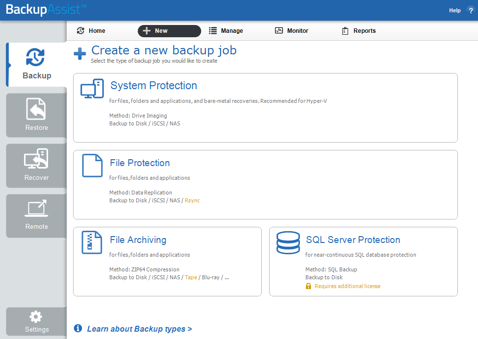 2. Create a New Backup The New menu will open the Create a new backup job screen. There are 5 types of backups to choose from, and a description of each type is provided below.