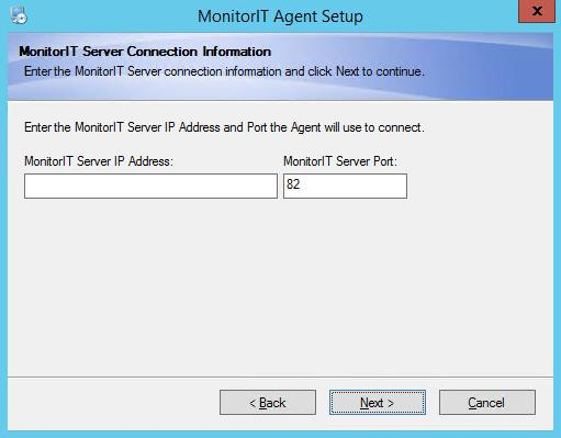Goliath Performance Monitor server Port as 82 if you are using the default port settings.