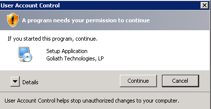 3. Click Next and proceed through the wizard If prompted, Click Continue on the UAC to